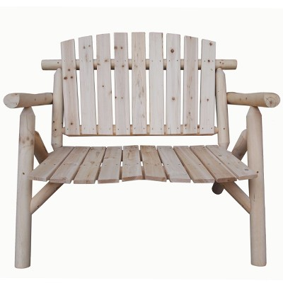 New Stylish Solid Wooden Log Garden Bench Seat Chair Unfinished Wood Ebay