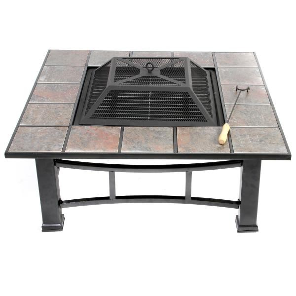 New Outdoor Ceramic Fire Pit Grill And Coffee Table With Poker Ebay