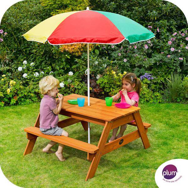 New Childrens Kids Plum Picnic Table Bench With Umbrella Ebay