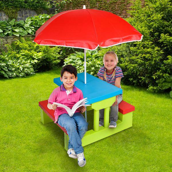 New childrens kids indoor outdoor picnic table bench chair - Children s picnic table with umbrella ...