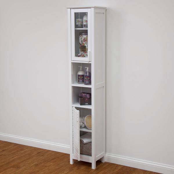 new quay west tall slim bathroom floor cabinet storage cupboard white