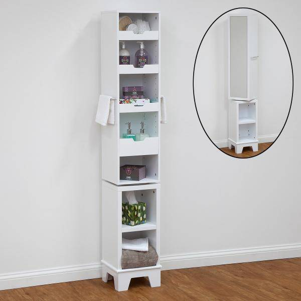 simple solutions swivel tall mirror bathroom cabinet cupboard white