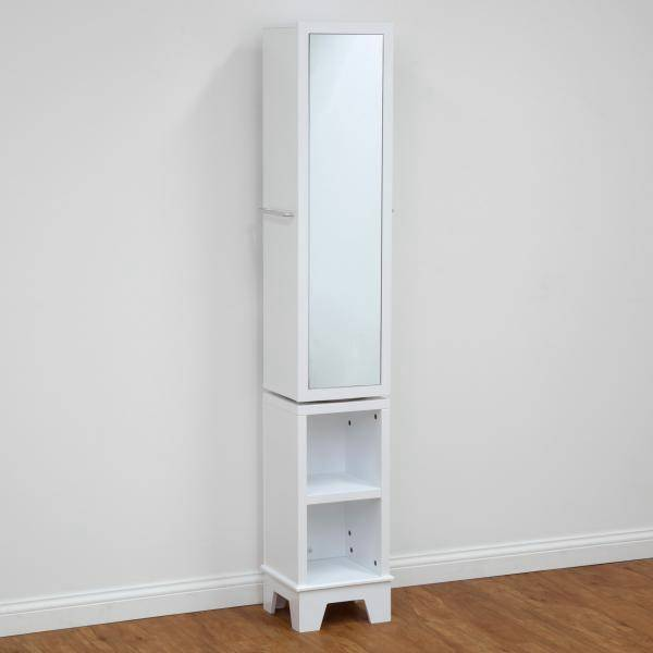 solutions swivel tall mirror bathroom cabinet cupboard white