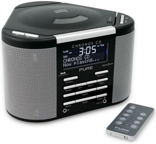 pure chronos cd stereo dab digital fm alarm clock radio cd player outlet black ebay. Black Bedroom Furniture Sets. Home Design Ideas