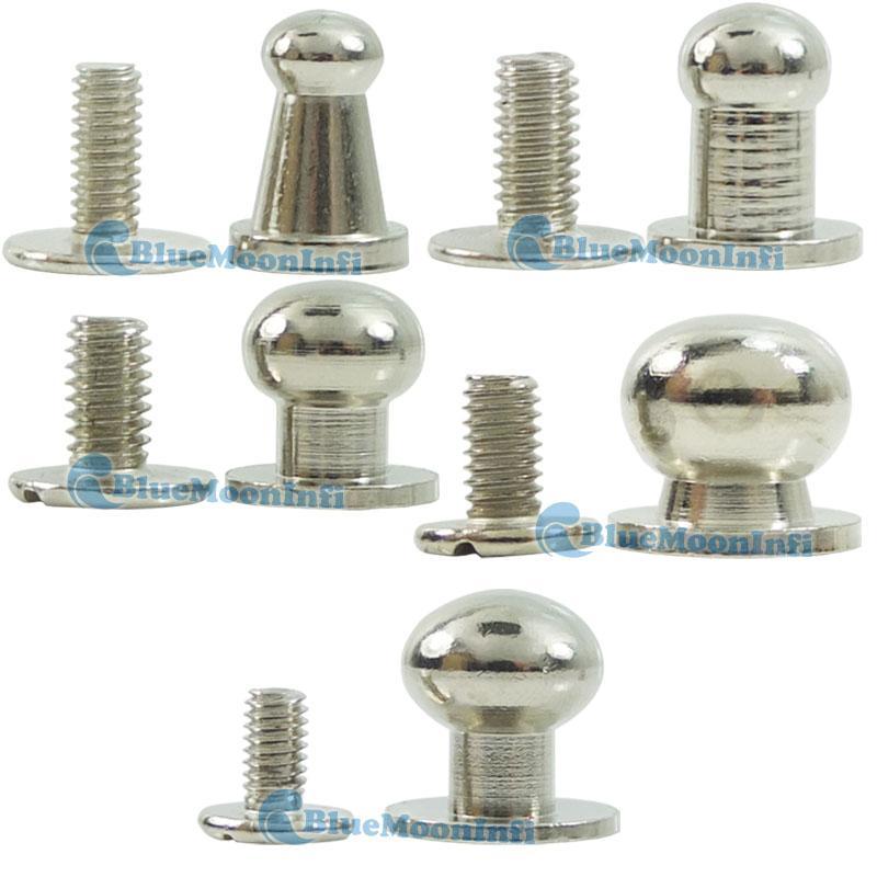 Silver head button stud screwback leather screw brass mm