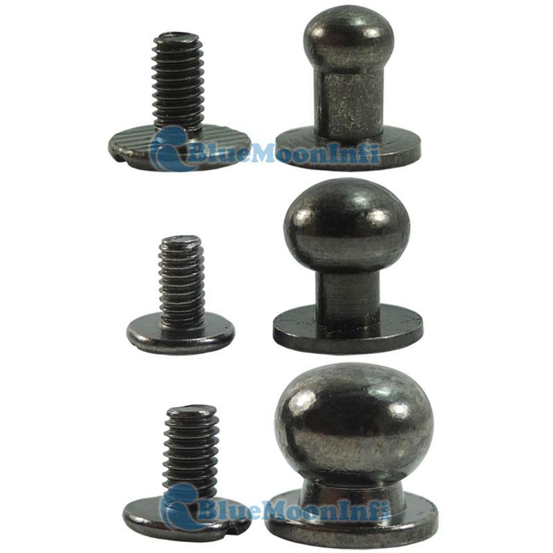 Black head button stud screwback leather