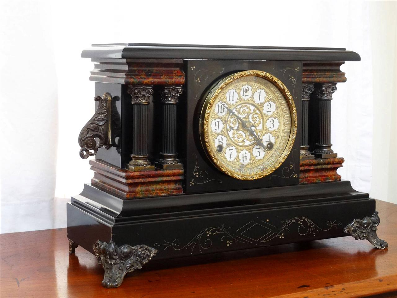 Superb-Antique-Sessions-Mantle-Clock-Adamantine-Fancy-Dial-Xlnt-Condition