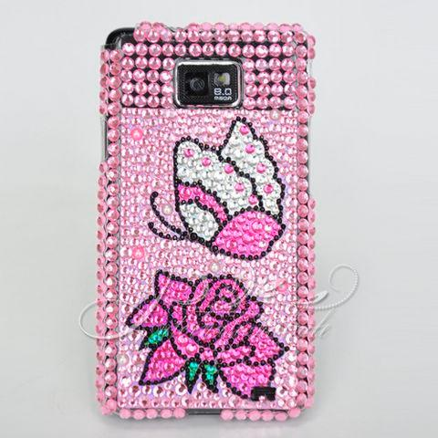 pink flower bling Case For Samsung Galaxy S II i9100 us
