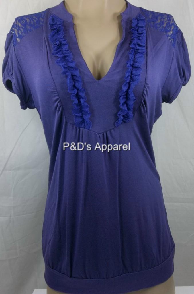New-Womens-Maternity-Clothes-Coqueta-S-M-L-XL-Purple-Shirt-Top-Blousse