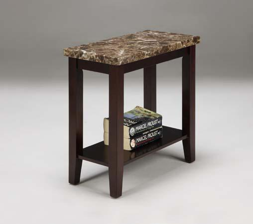 faux marble top chair side end table in espresso finish free shipping ebay. Black Bedroom Furniture Sets. Home Design Ideas