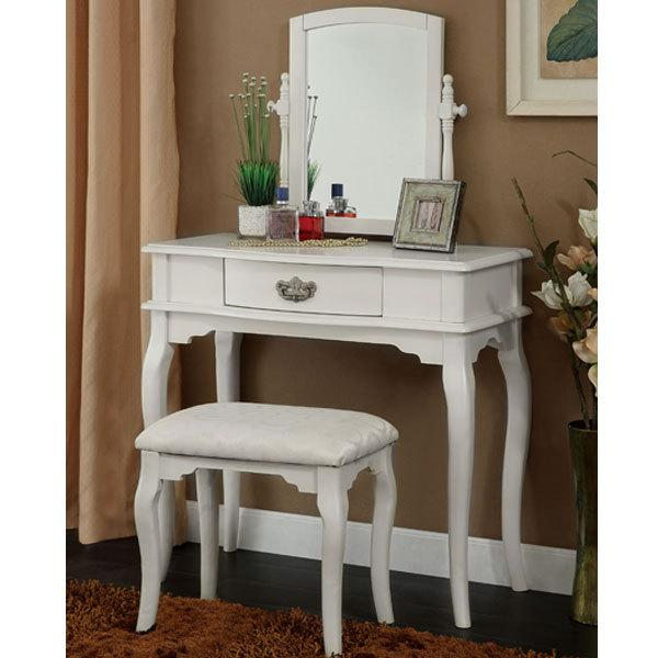 Princess white vanity makeup table set mirror padded for Vanity table set
