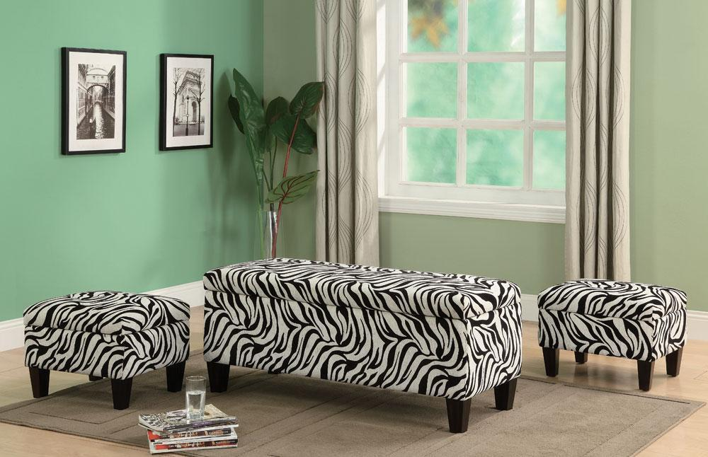 Zebra Print Upholstered Storage Bench And Two Ottoman Set Free Shipping Ebay