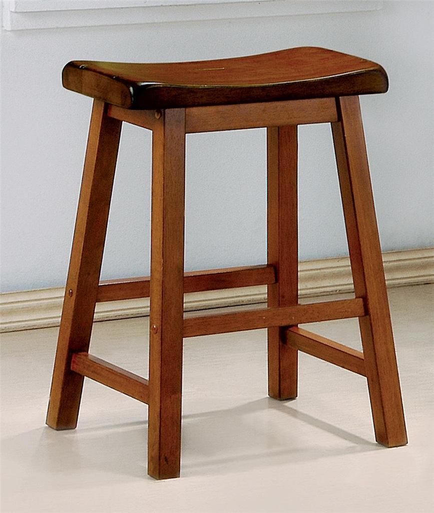 Set Of 2 Honey Oak Finish Wooden Scoop Bar Stool In 2