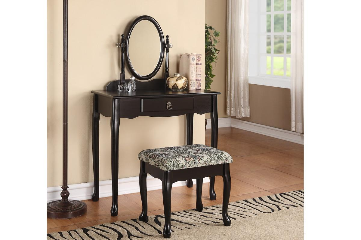 Queen anne style vanity table set mirror stool in black for Vanity with mirror and stool