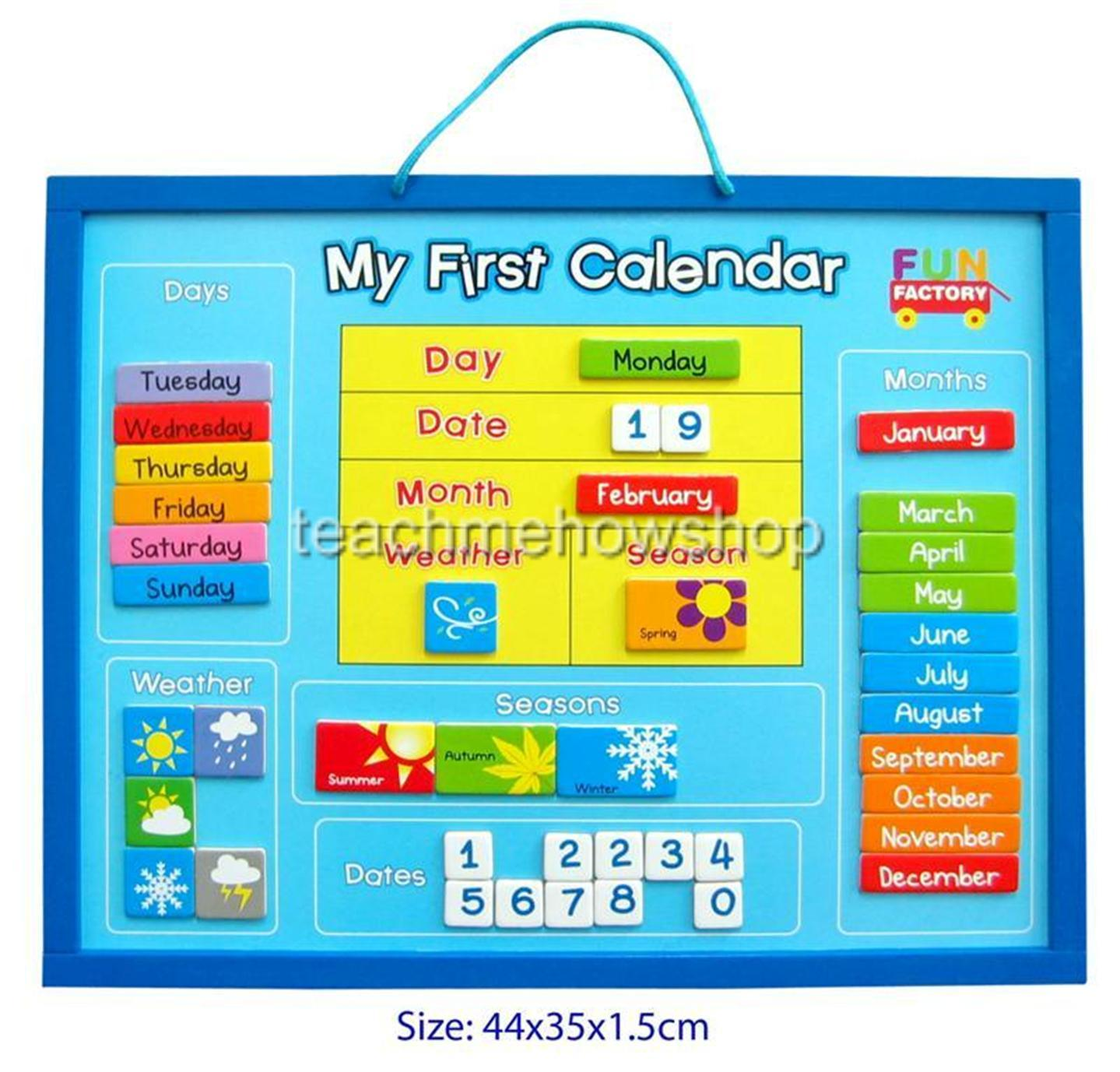 Calendar Drawing For Kids : My first calendar educational wooden magnetic days months