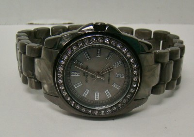 ak anne klein watch y121e gray marbleized resin gunmetal band crystal bezel ebay