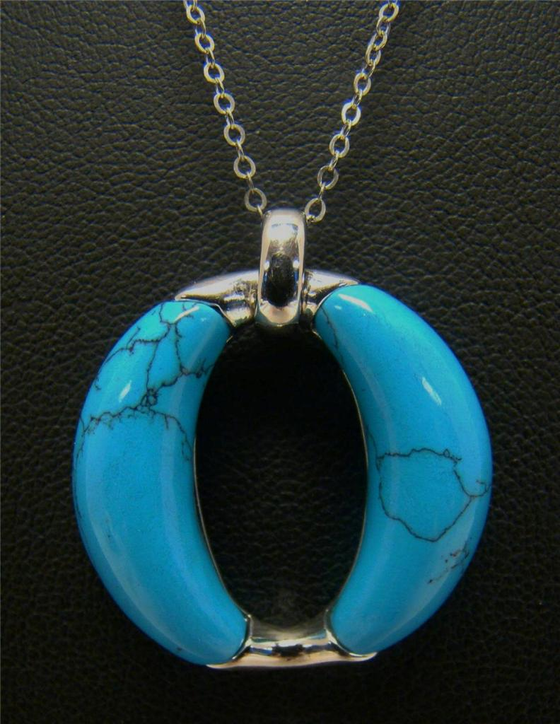 925 sterling silver necklace chain w turquoise pendant 7