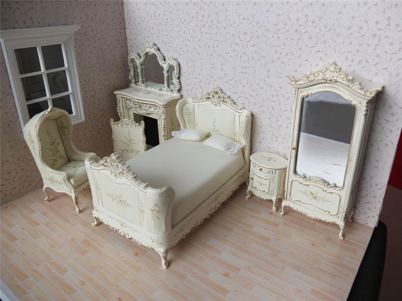 Bespaq Dollhouse Miniature French Bedroom Furniture Set
