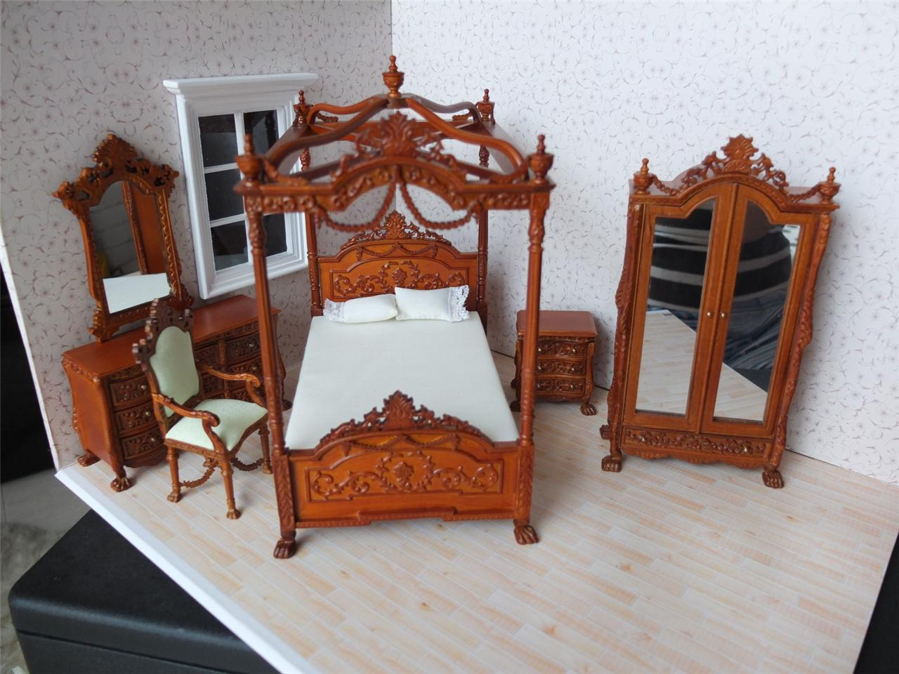 bespaq dollhouse miniature walnut bedroom furniture set bed wardrobe