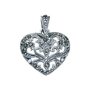 Genuine-925-Sterling-Silver-Marcasite-Patterned-Heart-Pendant-Chain