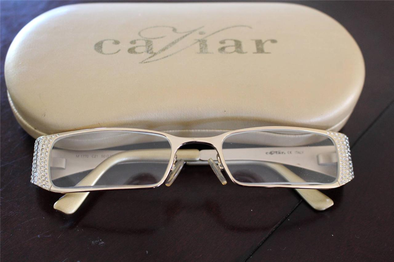 CAVIAR Eyeglass Frames Gold / Rhinestones Italy M1770 C21 | eBay