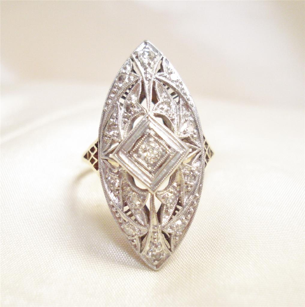 Yellow Gold Diamond Platinum: ANTIQUE ART DECO PLATINUM & 14K YELLOW GOLD DIAMOND