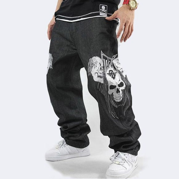 new mens hip hop jeans denim embroidery skull skeleton