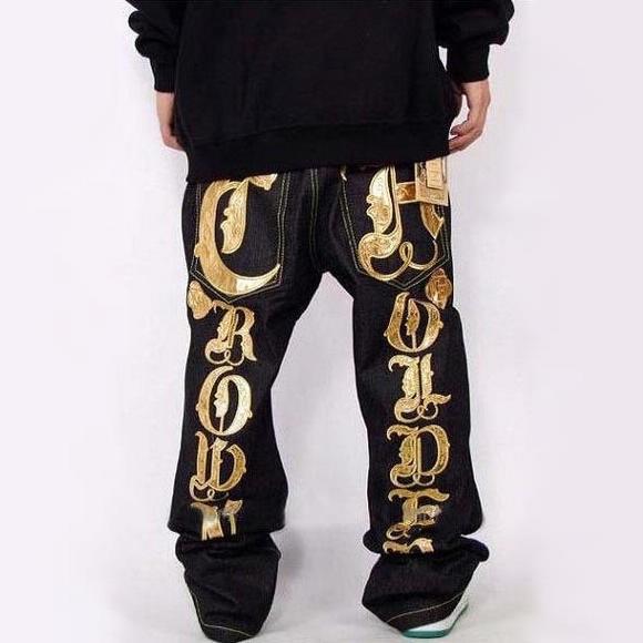 mens jeans crown holder baggy loose denim hip hop rap streetwear golden silver. Black Bedroom Furniture Sets. Home Design Ideas