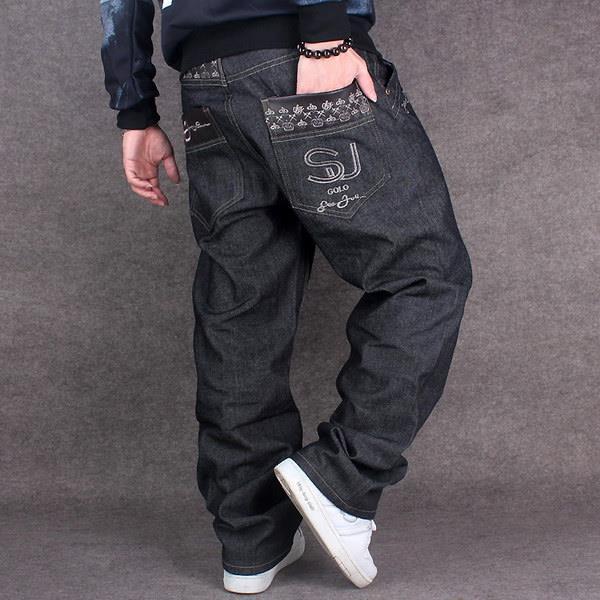 2016 new mens jeans baggy loose denim hiphop rap