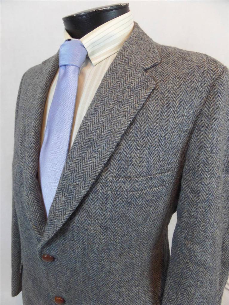 Vtg Black Harris Tweed Herringbone Blazer Jacket 46r Ebay