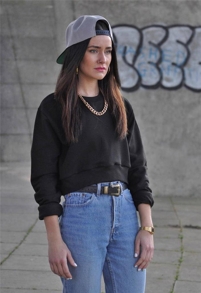 NEW-womens-Black-Cropped-crop-90s-Jumper-Sweater