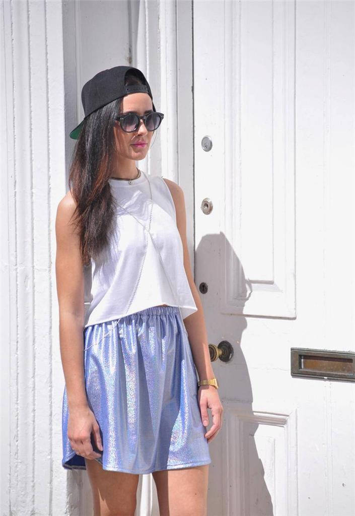 NEW Holographic hologram summer ibiza 90s Clueless Blue Skater High waist Skirt