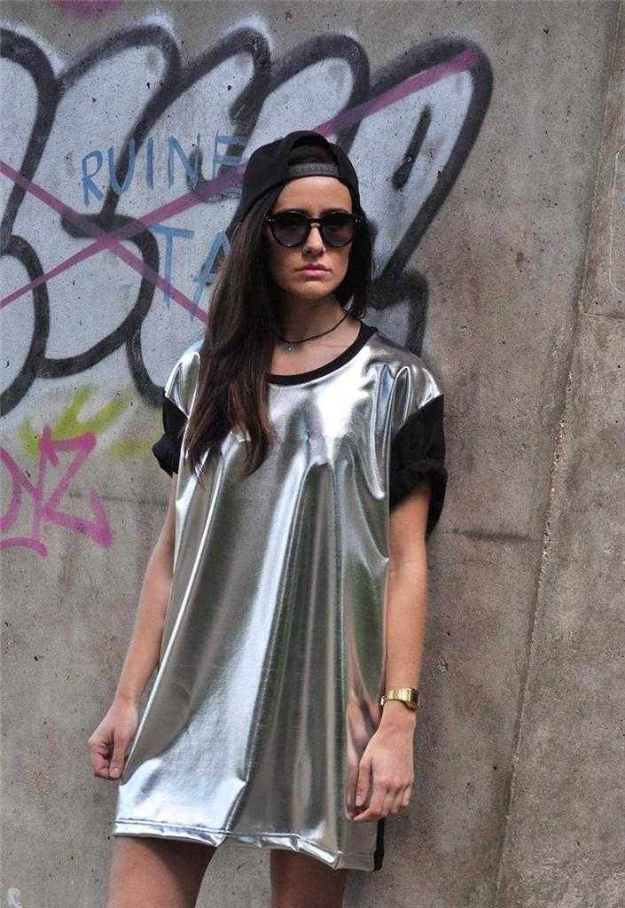 New 90's Style Silver Metallic holographic Oversize Long Tshirt Dress top tee