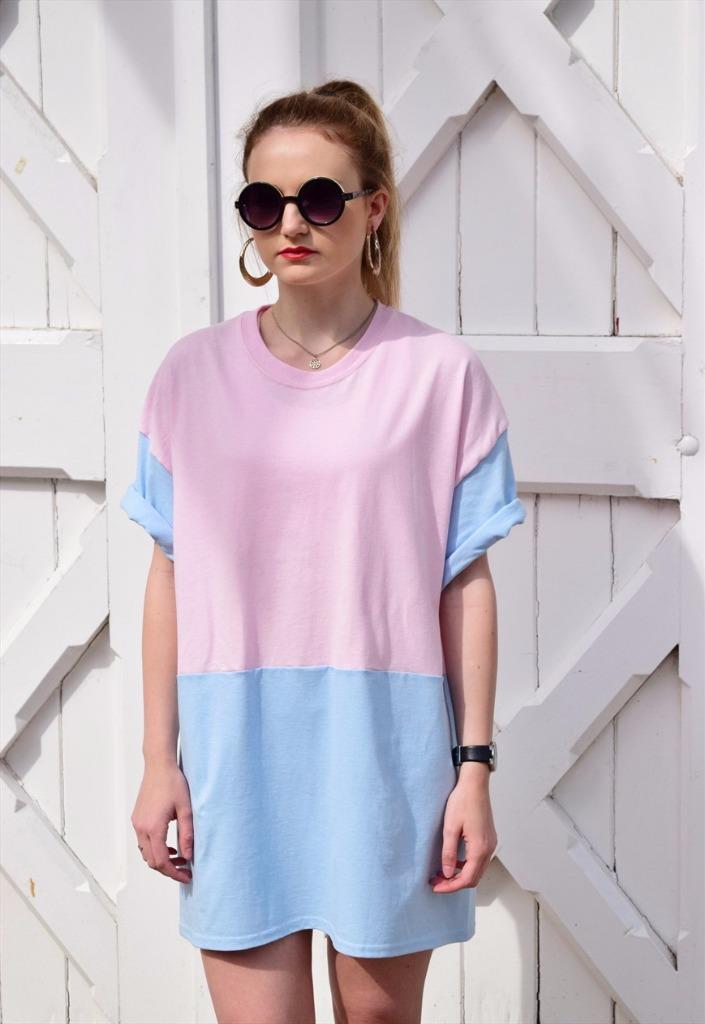 New retro womens Oversize Baby Blue Pink T shirt dress Top