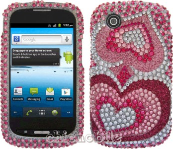 BLING PINK HEART Case Cover NET 10 Straight Talk ZTE MERIT AVAIL N762