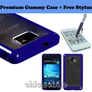 Stylus + BLUE 2 Tone Gummy Case Cover Net 10 Straight Talk SAMSUNG