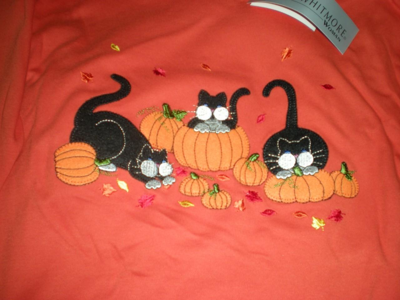 New Halloween Black Cats Pumkin Shirt Top Orange Large