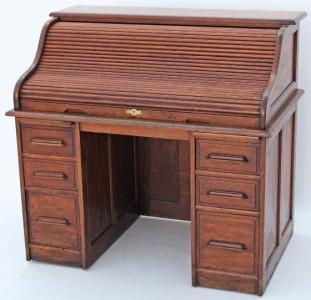 Antique Early 20c Twin Pedestal Oak Roll Top Desk Writing