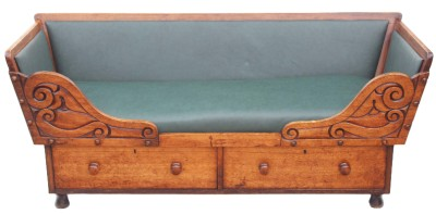 Antique 19c victorian walnut leather daybed sofa settee for Antique chaise longue ebay