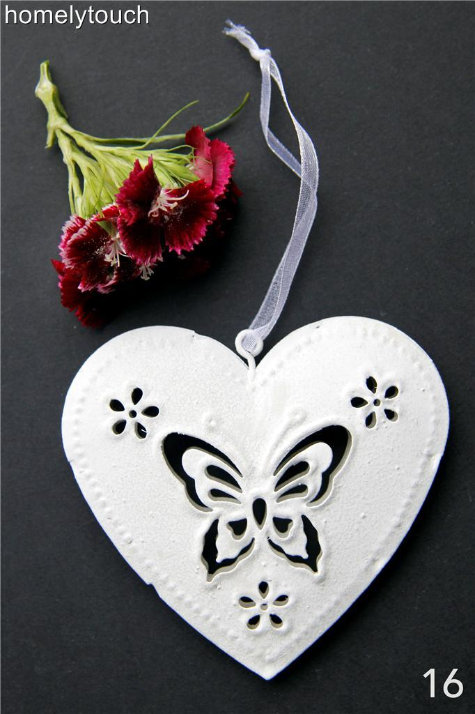 New vintage style metal hanging hearts wedding favours