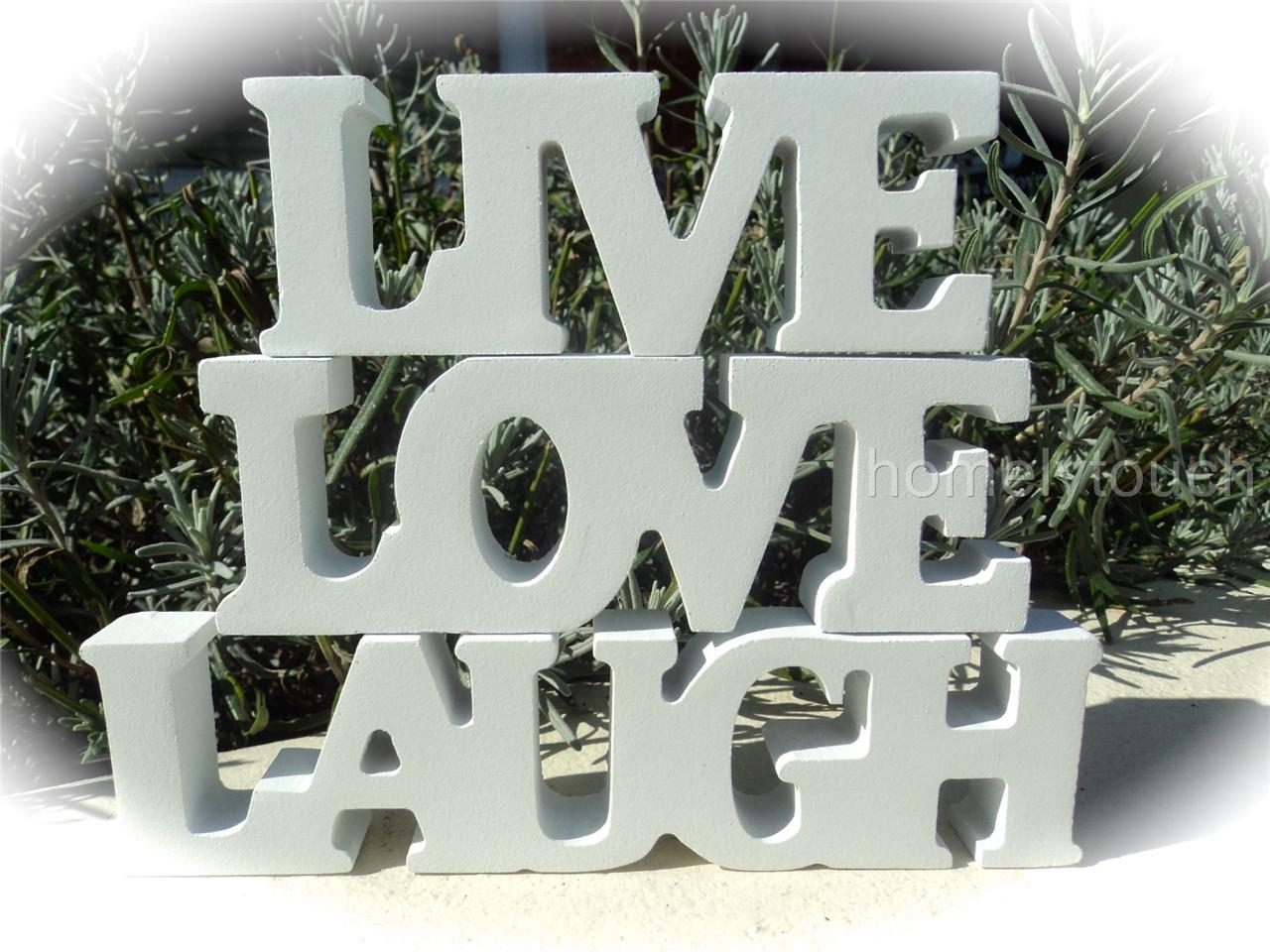 Homelytouch new live love laugh white wooden word letters for Furniture 5 letters word whizzle