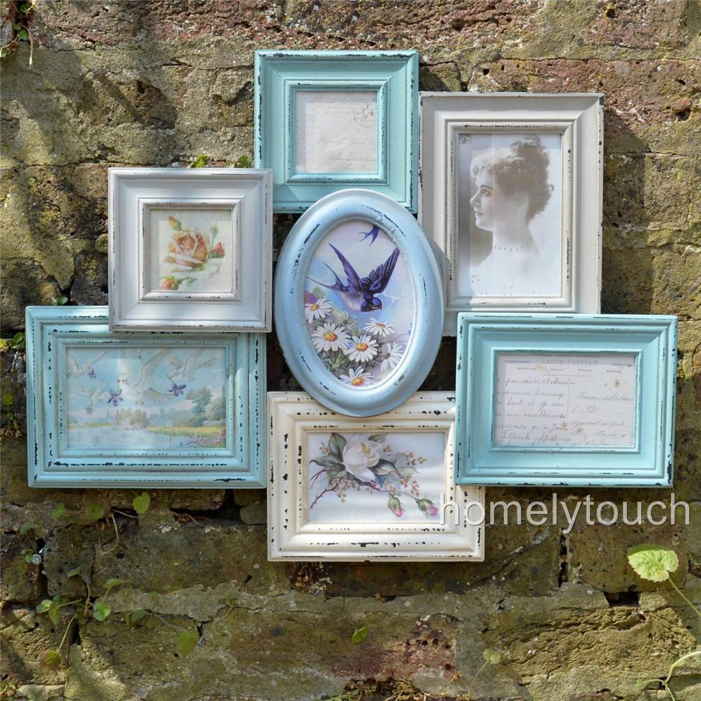 Vintage style photo frame multi picture collage frames for Shabby chic frames diy