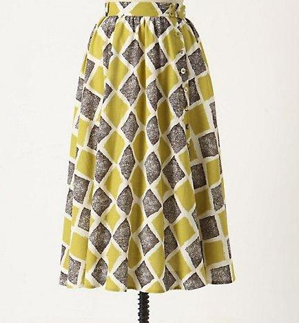 NEW Anthropologie Shifting Buttons Skirt  Size 0