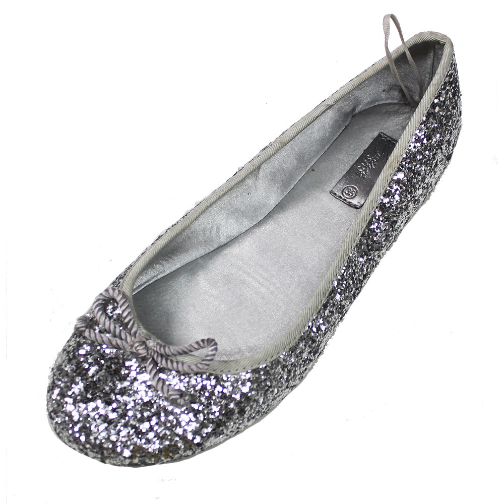 authentic zara silver glitter flat dress shoes