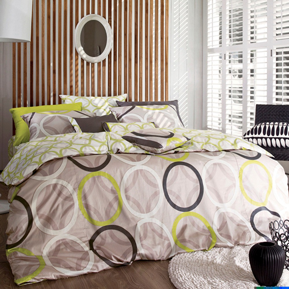 1100TC-Beige-With-Green-Brown-White-Rings-King-Duvet-Cover-Set