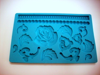 Baroque, Beads and Rose Silicone Cake Decorating Mould ...