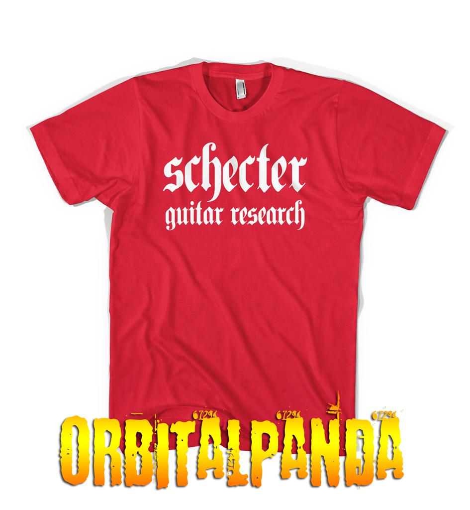 Red-T-Shirt-with-White-SCHECTER-GUITAR-logo-omen-jack-extreme-floyd-rose