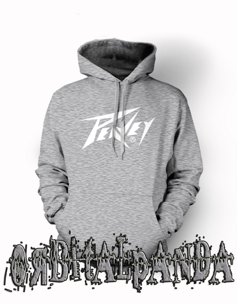 Grey-Hoodie-with-White-PEAVEY-Guitar-logo-Amp-Vintage-Retro-Wolfgang