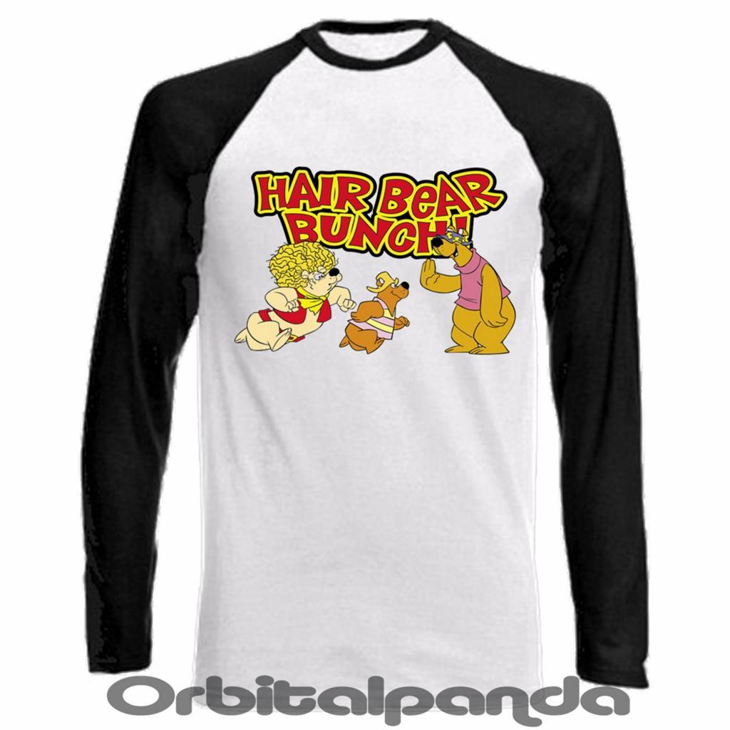 Long sleeve baseball t shirt hair bear bunch design for Hair salon t shirt designs