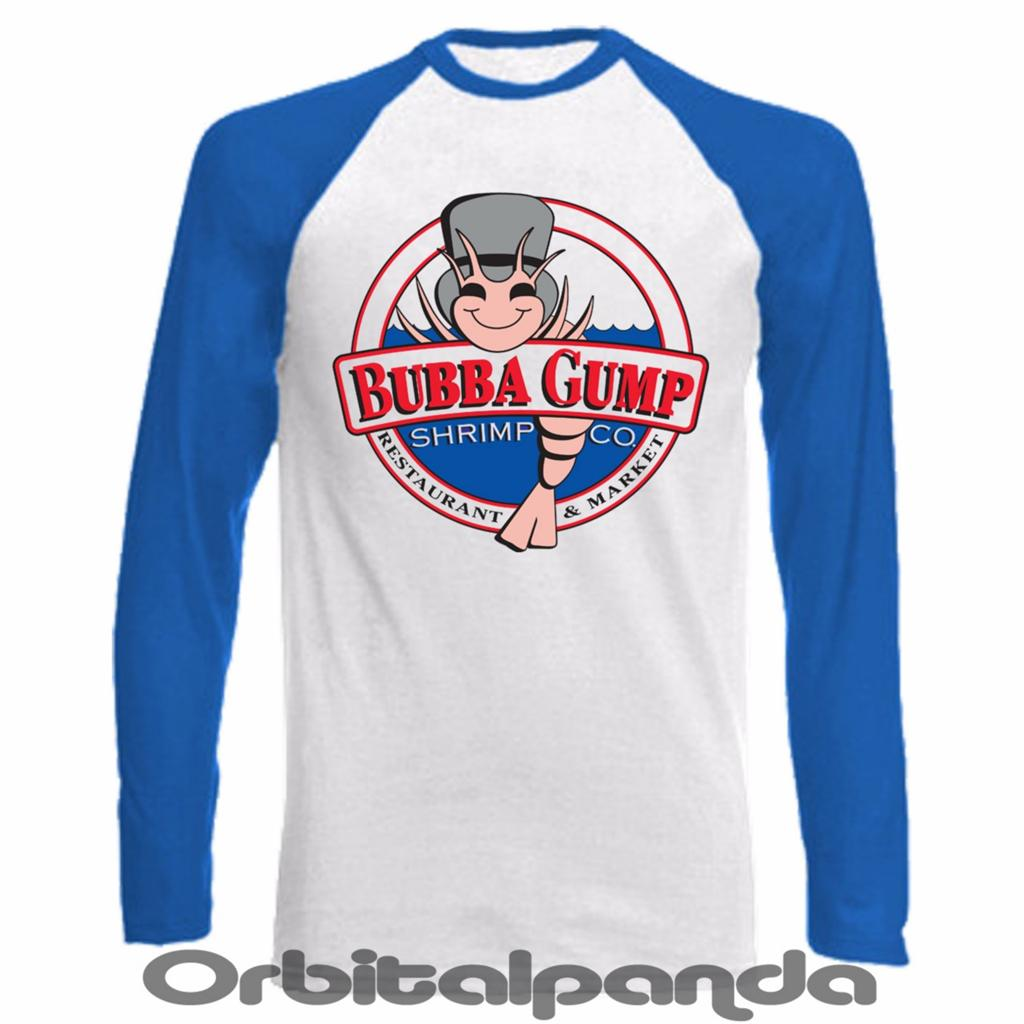 Long sleeve baseball t shirt bubba gump shrimp design for Long sleeve t shirts design